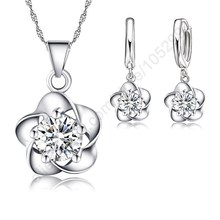 Nice Woman Gift Set,Beautiful Flower With CZ Zircon Pure 925 Sterling Silver Necklace Earrings Wedding Party Jewelry For Bridal