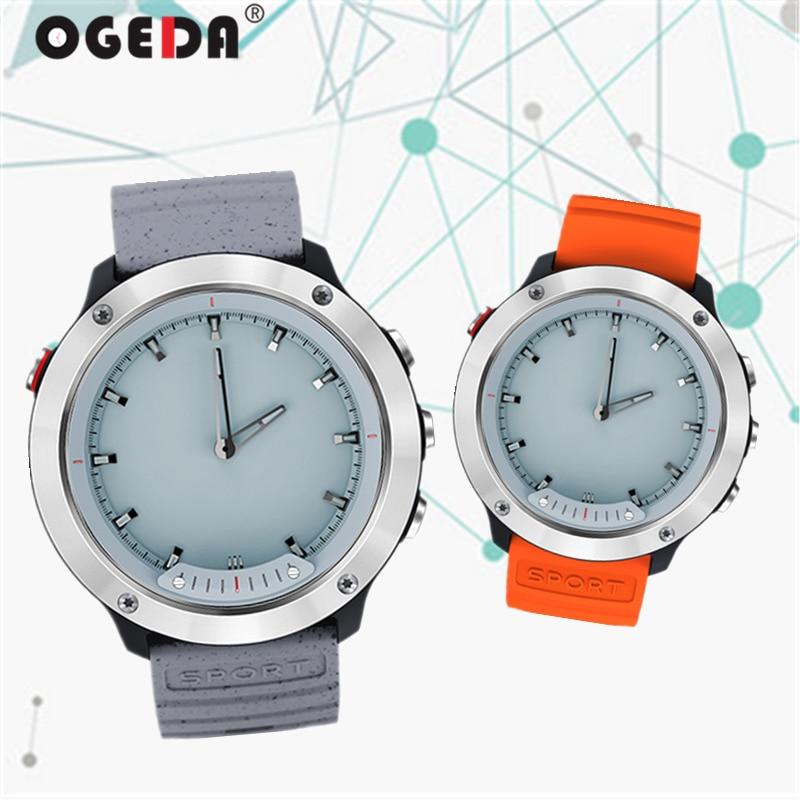 OGEDA 2019 Men Watch Smart Sport 5ATM Waterproof Call Reminder Double Display Step Bluetooth Stopwatch Health Monitor Reloj