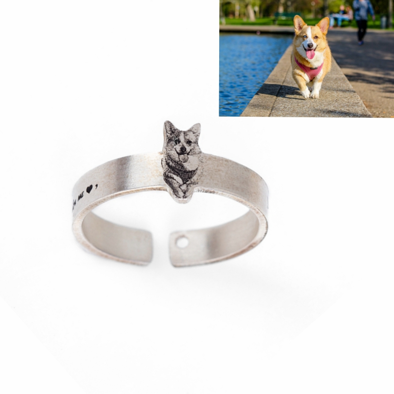 Customize Pet Rings for Pet Lovers 990 Sterling Silver Open Rings for Women and Men Bagu ...