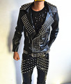 Male Personality non-mainstream Rivet Leather Jacket Punk style outwear Nightclub singer dancer dj Performance coat costume