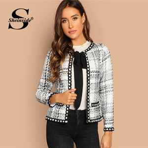 Sheinside Tie Neck Whipstitch Detail Tweed Coat Women Autumn Jacket Black and White Elegant Outerwear Womens Coats And Jackets