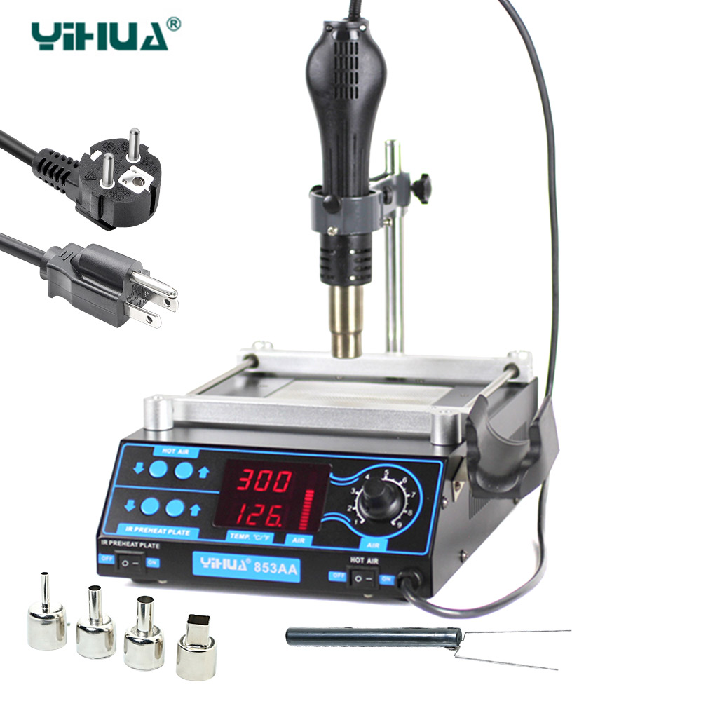 YIHUA 853AA High power ESD BGA rework station PCB preheat and desoldering IR preheating station rapid