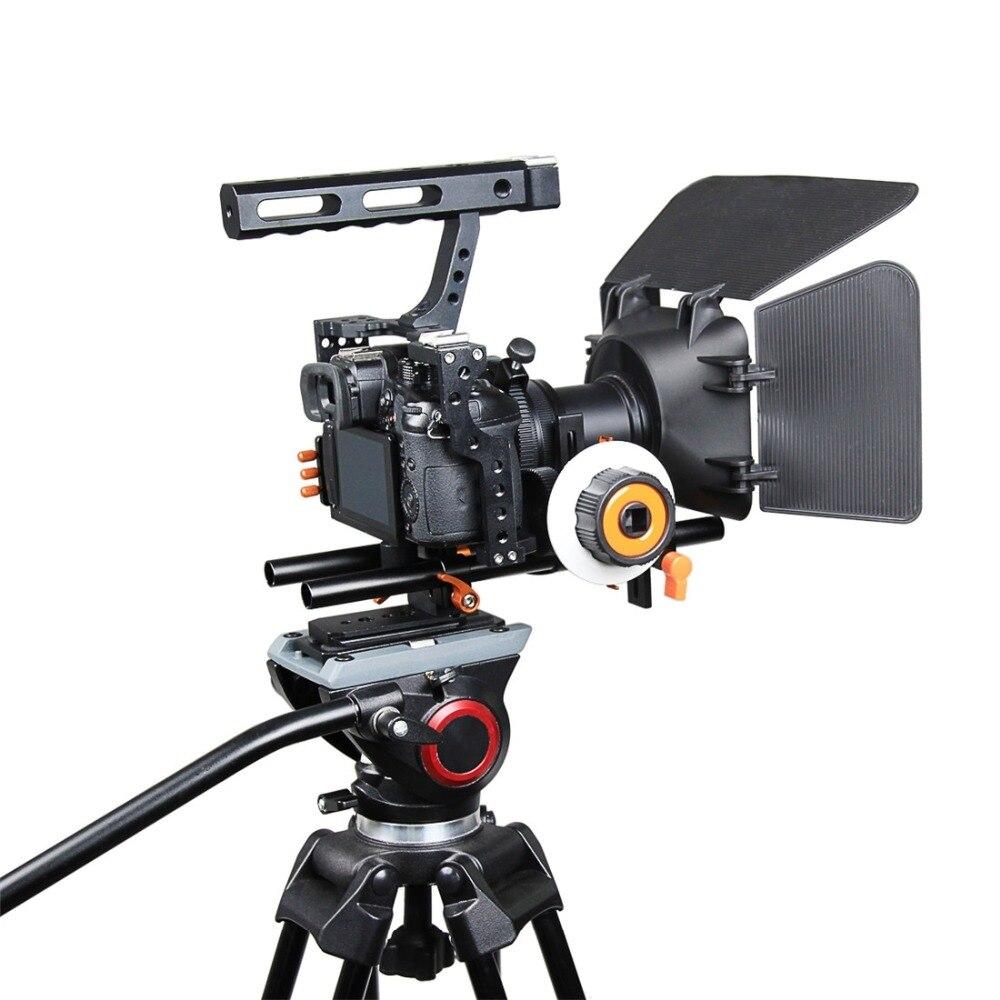 PULUZ jaula de cámara de vídeo jaula estabilizador de enfoque de seguimiento caja mate para Sony A7S/A7/A7R/A7RII /A7SII/Panasonic Lumix GH4 - 6