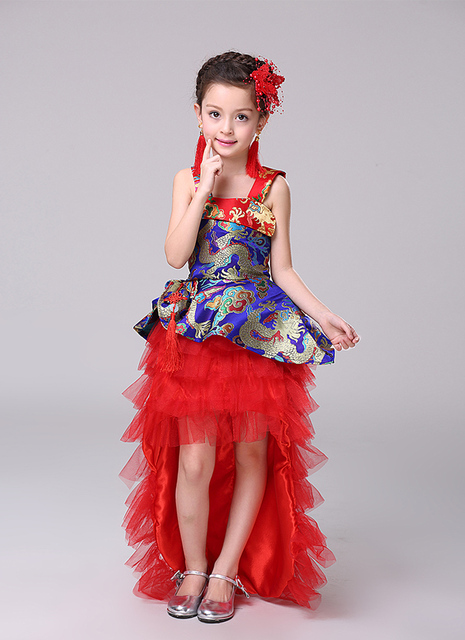 b1ebb2abf Child Flamenco Dance Dress Girl Princess Evening Dress Kids Trailing ...
