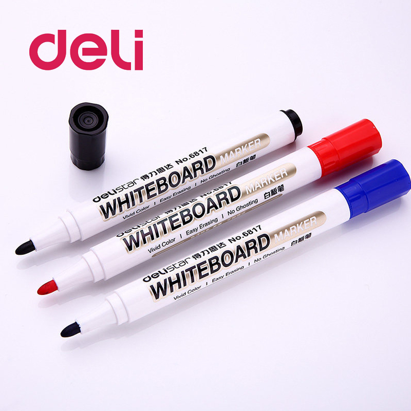 Deli 1PCS Marker Pen Office School Supplies Black Blue Red Erasable Wiped Ink Addible Durable Whiteboard Marker Office Supplies