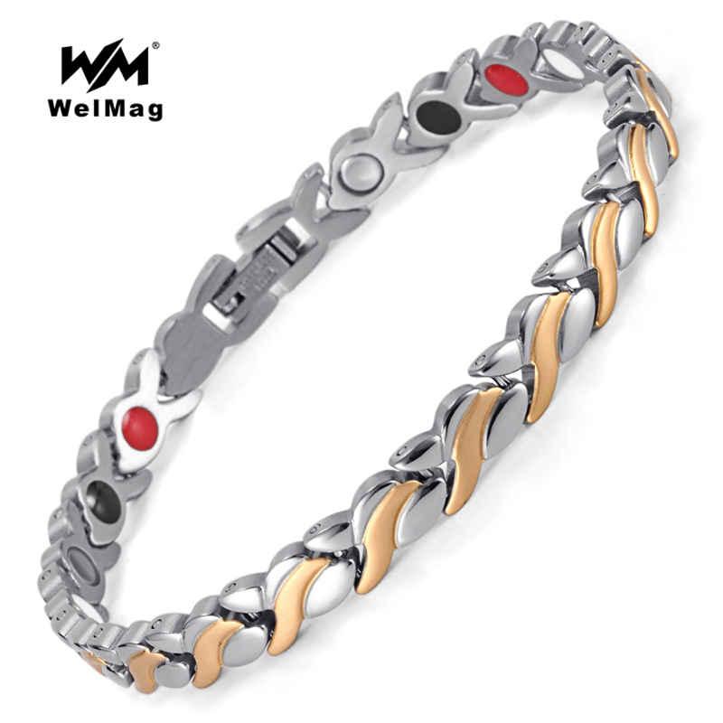 WelMag Hot Magnetic Health Bracelets & Bangles Improve Blood circulation Stainless Steel Rose Gold Jewelry High Power Therapy