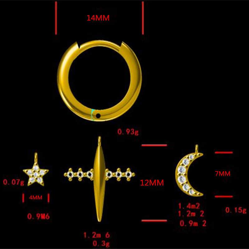 Moonmory Otentik 925 Sterling Silver Rose Gold Loop Anting Anting-Anting Bulat Liontin Bulan Huggies Bintang Cross DIY Wanita Jewlry