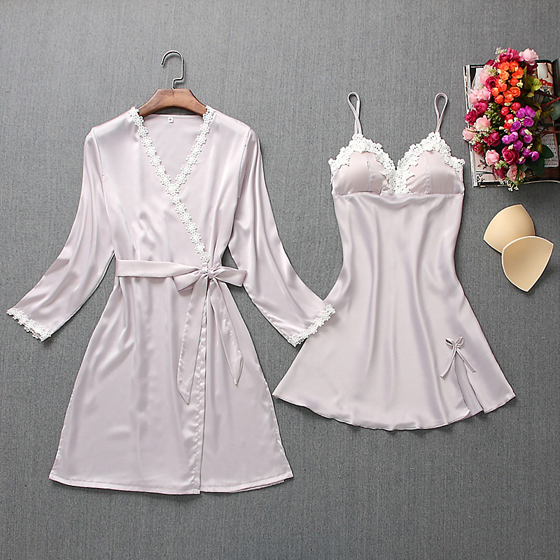 Fiklyc brand womens robe & gown sets mini nightdress + long sleeve bathrobe two-pieces female sexy floral lingerie nighties HOT 2