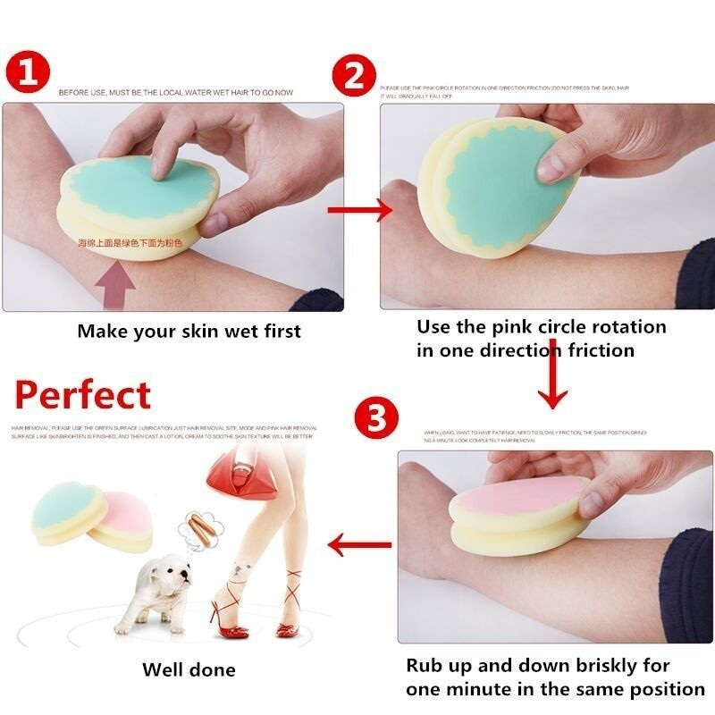 2018 2pcs lot Heart shaped Popular Magic Painless Hair Removal Depilation Sponge Pad Remove Hair Remover in Razor from Beauty Health
