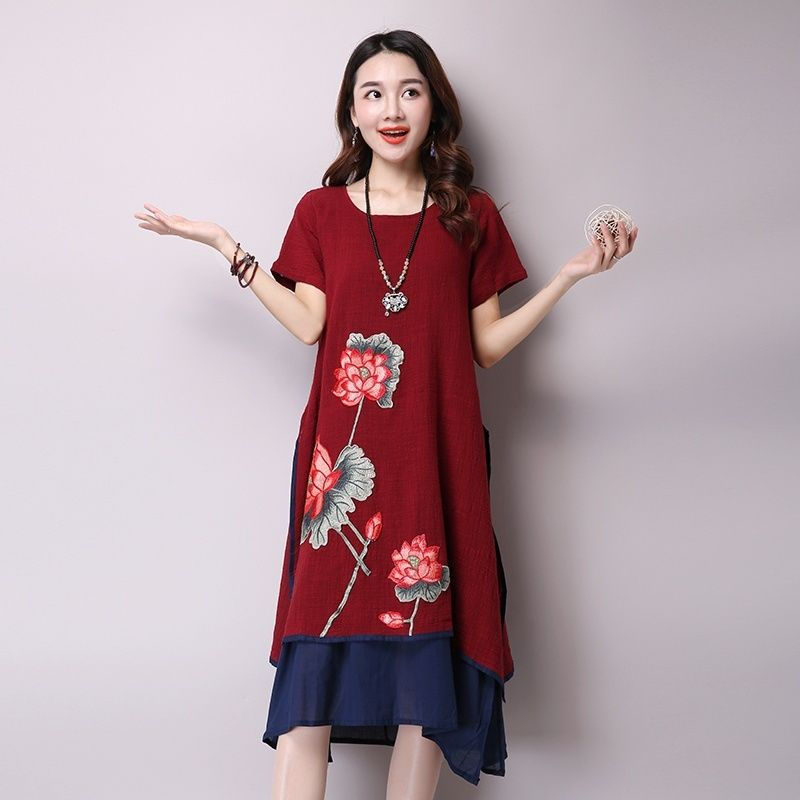 b5f5c242154 Women Embroidery Floral Short Sleeve Dress Chinese Style Cotton Linen O  Neck Vintage Casual Summer Dresses Knee Length 903 932-in Dresses from  Women s ...