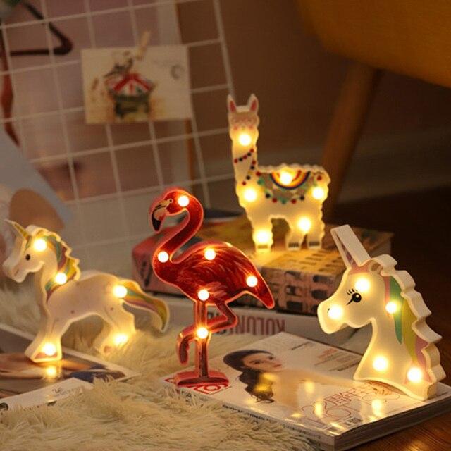 น่ารักAlpaca Flamingo Unicornโคมไฟ 3D Night Lightของขวัญเด็กของเล่นสำหรับทารกเด็กห้องนอนตกแต่งข้างเตียงโคมไฟตั้งโต๊ะตาราง