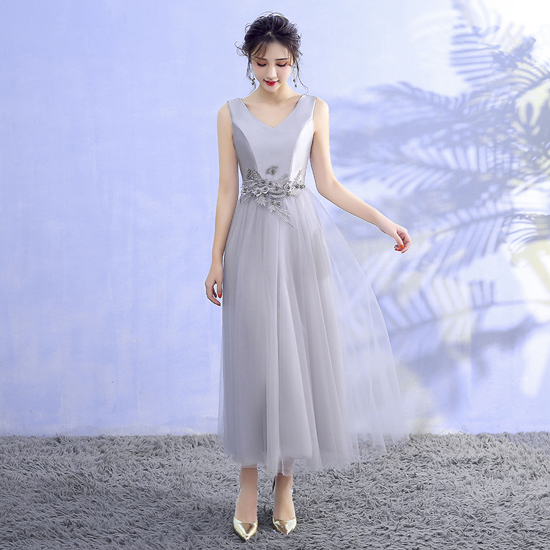 Grey Colour Satin Midi   Dress     Bridesmaid     Dress   for Wedding Party Sleeveless Embroidery Back of Bandage