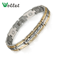 Inox Energy Healing High Quality 21cm Magnetic Gold Plated Stainless Steel Bracelets Bangle for Men