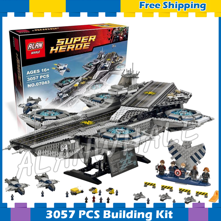 3057pcs Super heroes Avengers The SHIELD Helicarrier Aircraft Carrier 07043 Model Building Blocks Gifts Set Compatible with Lego lepin 07043 the s h i e l d helicarrier set shield avengers star space war 3057pcs building bricks children toys compatible leg