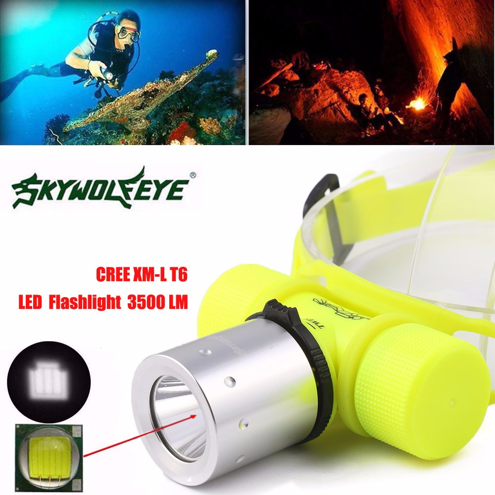 3500Lm CREE T6 LED Waterproof Underwater Diving Head Light Lamp Flashlight Torch Strobe IP68 Three Layers Loops AAA18650 Battery