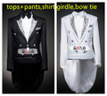 Masculina smoking branco preto conjunto Formal vestido costumes dos homens vestido de casamento do noivo casado terno masculino desgaste desempenho traje