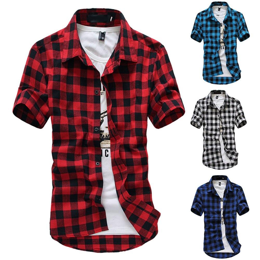 Men Short Sleeves Shirts Classic Grids Pattern Slim Fit Tops For Spring Summer IK88