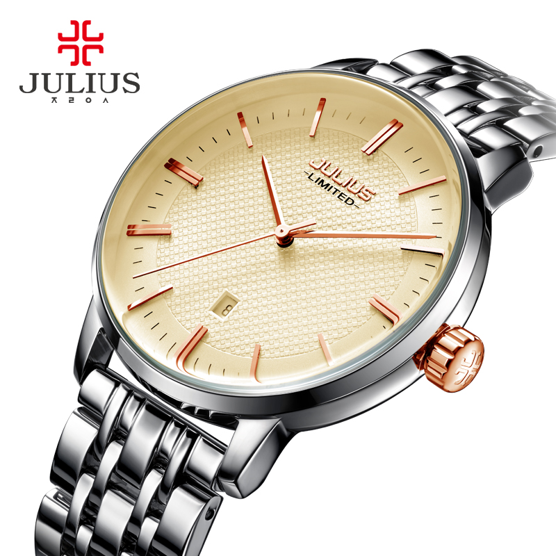 JULIUS Thin Wrist Watch Luxury Designer Reloj Mujer New Business Quartz Clock Ladies Dress Watches Decoration  Erkek Kol Saati