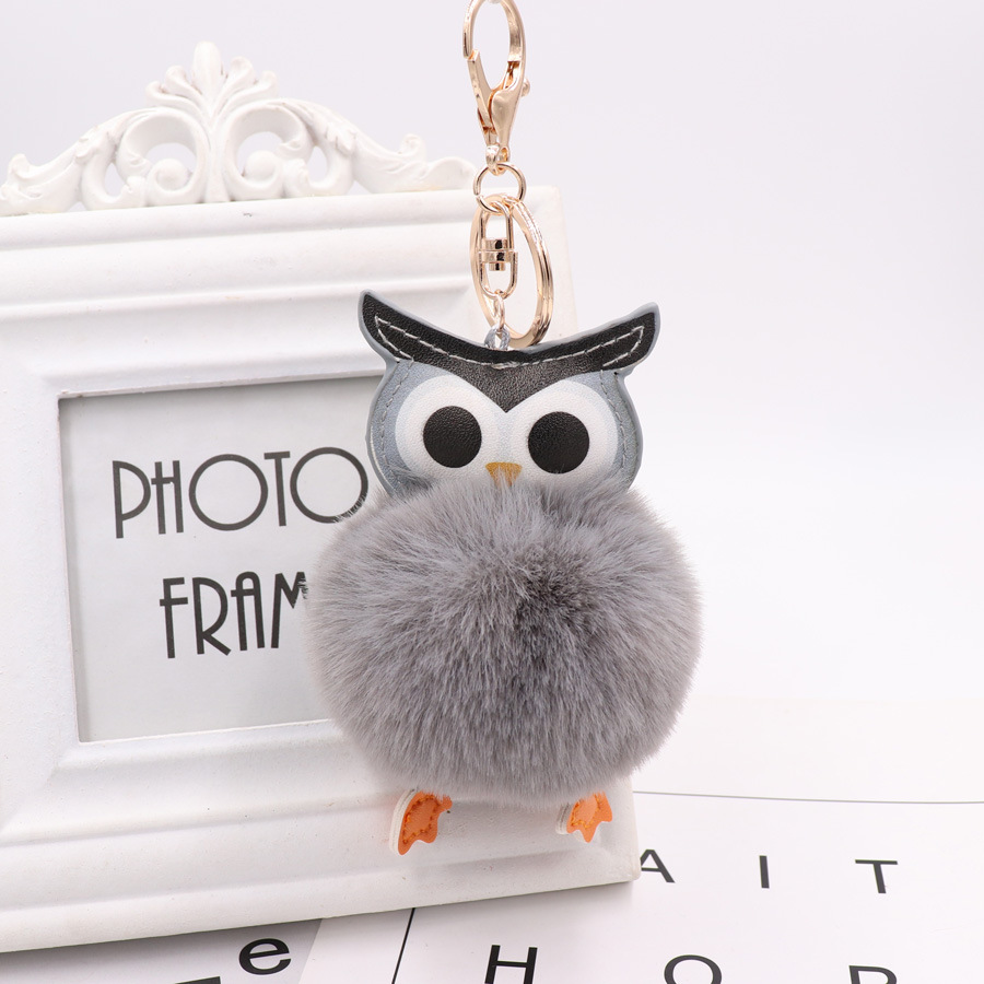 QiYuFang Cute Pompom Owl Keychain Pom Pom Key Chain Rabbit Fur Ball Pompom Porte Clef Fluffy Leather Key Ring Llaveros Gold