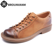 Genuine Leather mens casual shoes men low-top Retro Britain natural leather loafers cowhide Business Men Shoes