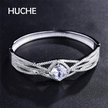 HUCHE White Gold Color Copper Luxury Bangle Pave CZ Surrounding One Big Square Crystal For Party Gift 2017 Women Jewelry HYJZ007