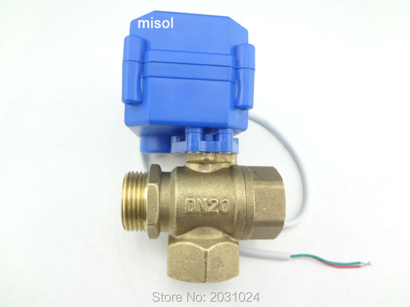 1 pcs of 3 way motorized ball valve DN20 (reduce port), T port, electric ball valve, motorized valve стоимость