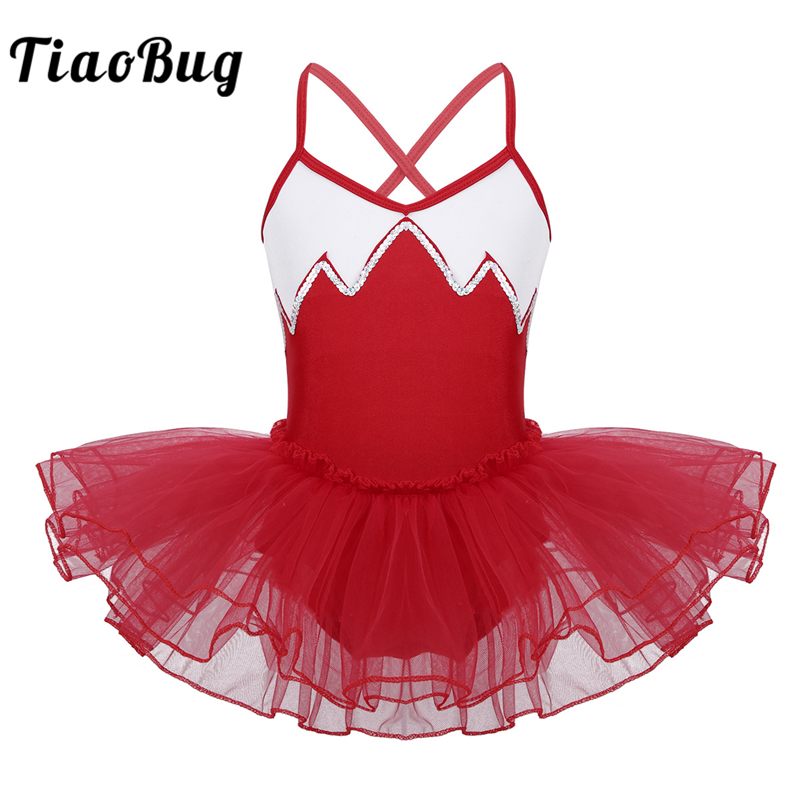 <font><b>TiaoBug</b></font> Kids Teens Shoulder Strap Shiny Sequin Professional Ballet Tutu Dress Girls Gymnastics Leotard Ballerina Dress Dancewear image