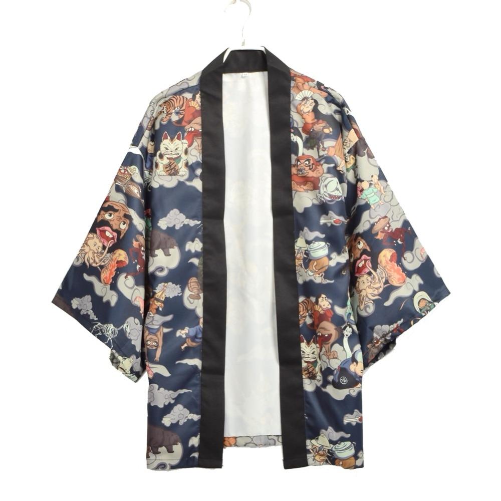 Japanischen Kimono Yukata Männer Cardgain Frauen Kurze Outwear Mantel Hyakki Yakou Clarkes Welt Kostüme