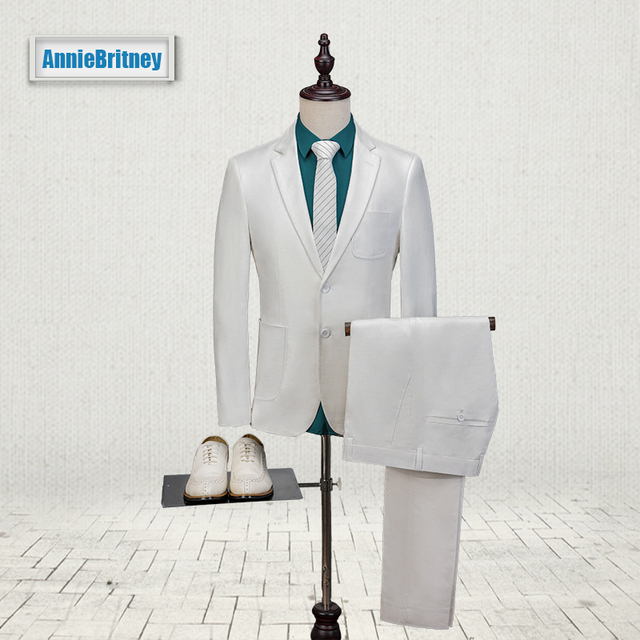 2017 Latest Coat Pant Design White Ivory Men Suit Slim Fit 3 Piece Tuxedo Custom Wedding