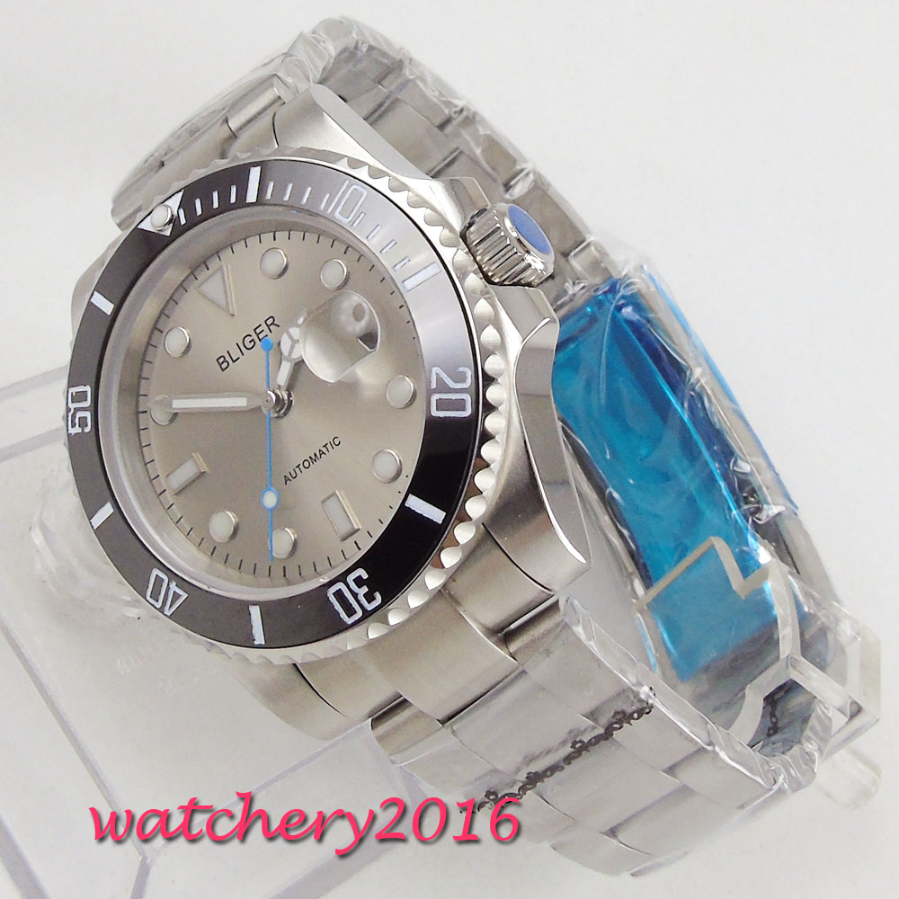 лучшая цена Luxury Brand Bliger Watch 40mm Grey Dial Sapphire Glass Rotating Ceramic Bezel Luminous Steel Case Automatic Movement mens Watch