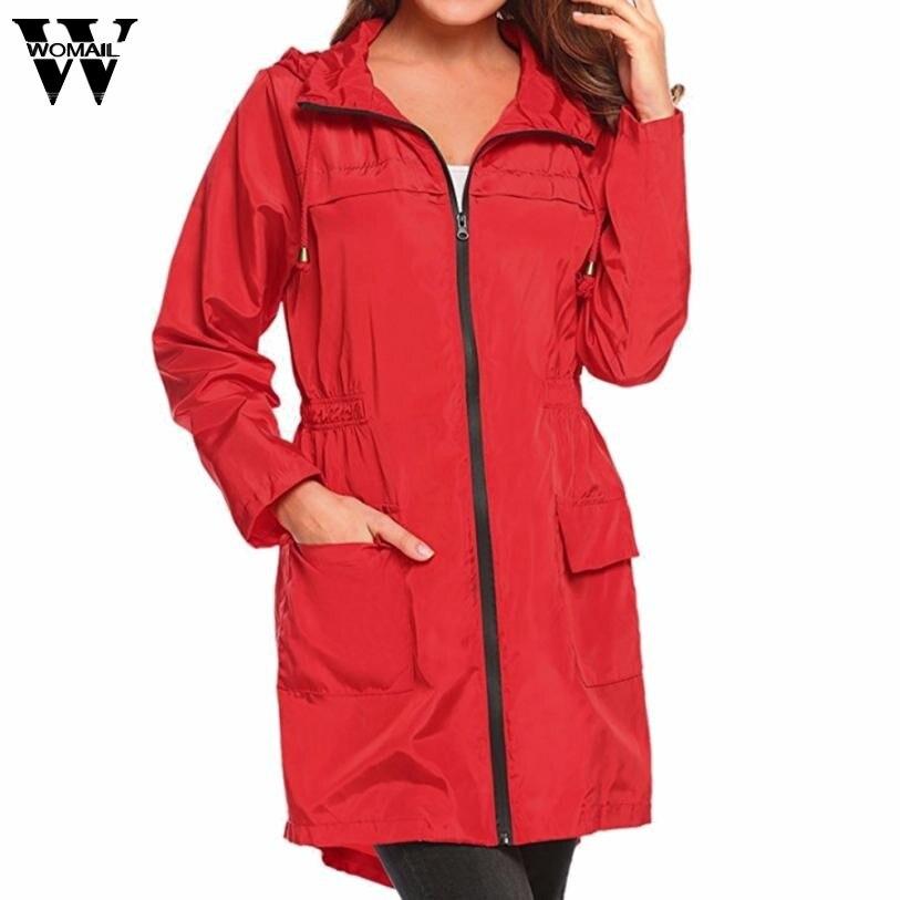 2018 winter coat women plus size solid long Lightweight Travel Waterproof Raincoat Hoodie Windproof Coat Jacket JAN8