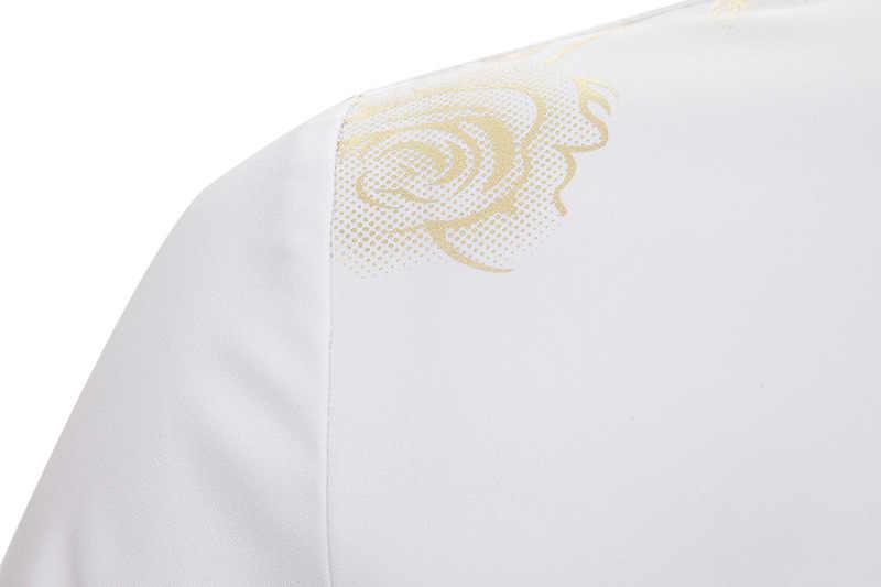 ผู้ชายหรูหรา Rose Gold เงาดอกไม้พิมพ์สไตล์ปุ่มลงเสื้อสีขาวแขนยาวอาหารค่ำ chemise