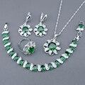 Criado verde Esmeralda Branco Topaz 925 Sterling Silver Brincos Pulseira Anéis Conjuntos de Jóias Para As Mulheres Colar de Pingente de Caixa Livre