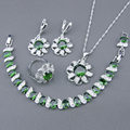 Green Created Emerald White Topaz 925 Sterling Silver Jewelry Sets For Women Earrings Bracelet Rings Necklace Pendant Free Box