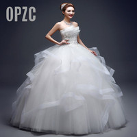 Pearl Luxury Bead Fashion Strapless Wedding Dresses 2021 New Korean Tiered Organza Sweet Bride Princess Gowns Vestido de noiva