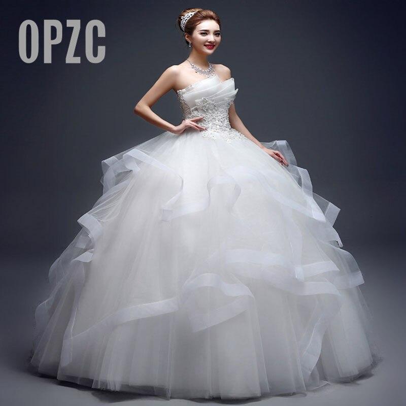 Pearl Luxury Bead Fashion Strapless Wedding Dresses 2020 New Korean Tiered Organza Sweet Bride Princess Gown Vestido De Noiva