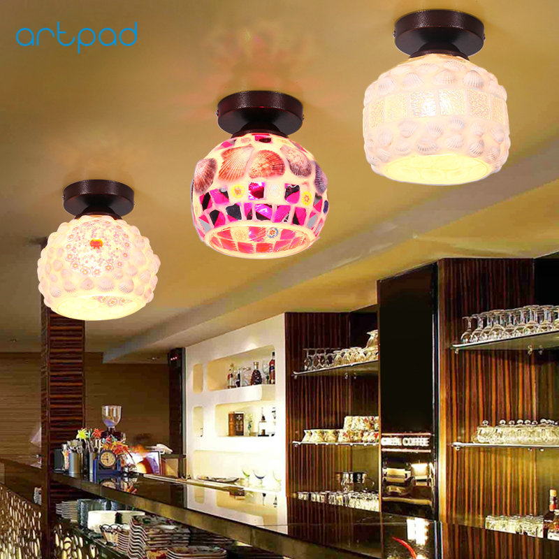 Artpad Retro Turkish Mosaic Lamps Stained Glass Sconces LED Surface Mounted Ceiling Lights for Living Room Bedroom Dining E27 turkish mosaic lamps blue crystal glass led lights hand blown murano glass chandelier lighting