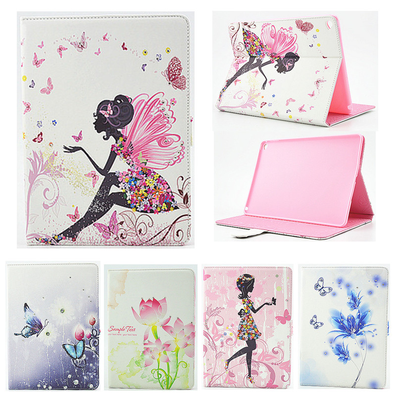 For iPad Air 2 Case,Case for iPad 6 Girl Bling Rhinestone Butterfly PU Leather Book Stand Protective Tablet Case Cover for iPad6 for ipad air glittery powder imprint butterfly flower leather smart casing rose gold