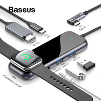 Baseus USB C HUB to USB 3.0 HDMI RJ45 Adapter for MacBook Pro Air Multi Type C HUB with Wireless Charge for iWatch USB C HUB