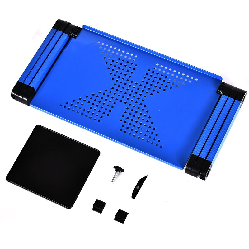 Image 5 - Portable Mobile Laptop Standing Desk For Bed Sofa Laptop Folding Table Notebook Desk With Mouse Pad & Cooling Fan For Office-in Laptop Desks from Furniture