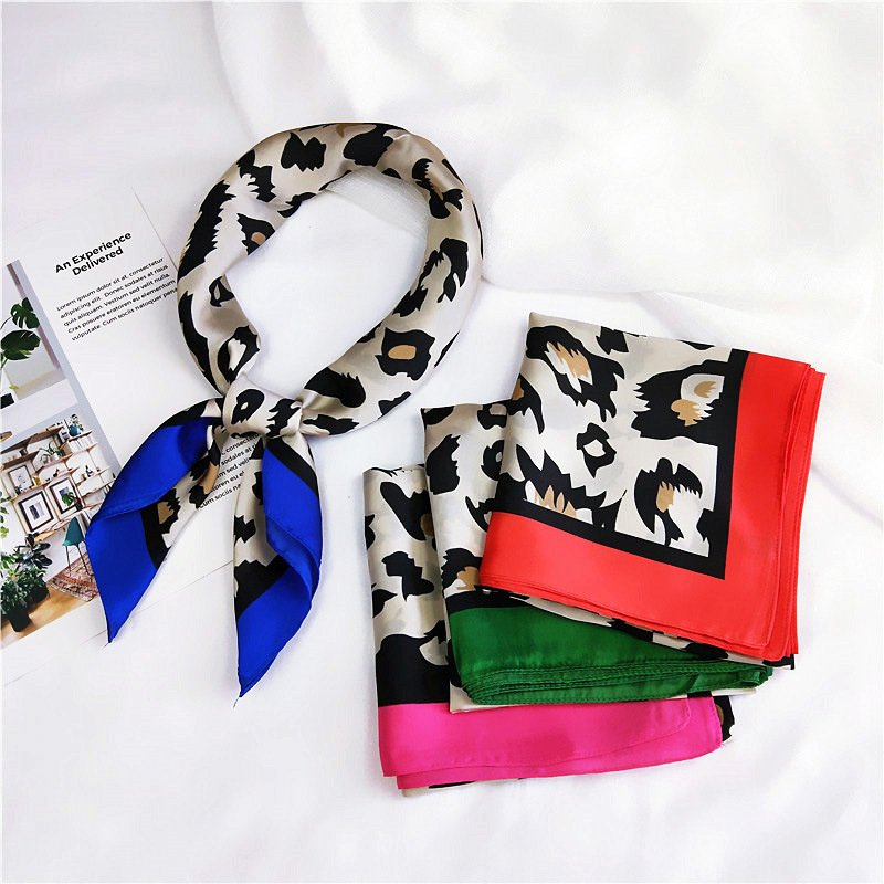 New 70x70cm Women Multifunction Polyester Silk Scarf Sexy Leopard Printed Satin Small Square Wraps Scarves Shawl Shawls