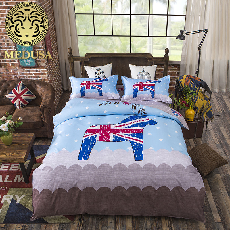 Medusa giraffe children bedding set queen full single size duvet cover bed sheet pillow cases 3/4pcs bedclothes