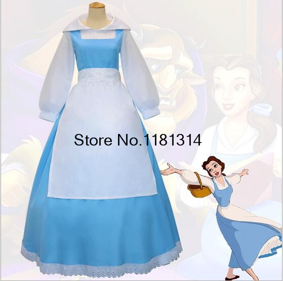 2017 new beauty and the beast belle cosplay costume blue apron suit halloween costumes for adult women dress s 2xl in movie tv costumes from novelty