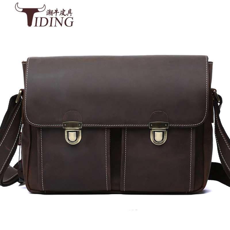 crazy horse leather shoulder messenger vintage bag man bags 2017 business genuine cow leather travel luxury brand crossbody bags hot selling crazy horse leather chest pack messenger bag vintage travel bag man and women bosom bag genuine leather 0211