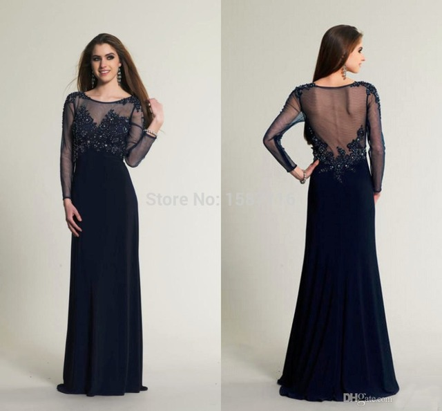 2015 Scoop Dark Blue Prom Dresses Sheer Long Sleeve Prom Dress ...