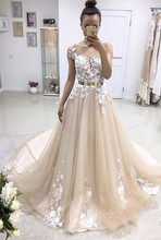 2019 Latest Short Sleeve Long Evening Dresses Appliques Lace Tulle Train Party