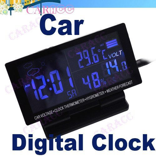 New LCD Display Car clock with Hygrometer Thermometer Digital Automotive Weather Forecast B2# 2125