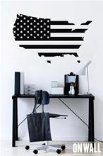 Map of America Wall Stickers USA Flag Design Travel Decor Removable Vinyl Art Decal Self-adhesive Murals Living Room DT20