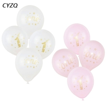 5Pcs Baby Shower 1st Birthday Balloon Pink White Latex For Boys Girls 1 Year Old First Kids Gift Toys