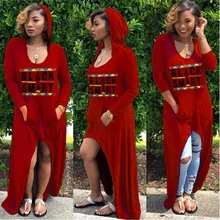 African Clothing Women Casual Loose Letter Printed Dress Hooded Pocket Maxi Gown Robe Hippie Africa T Shirt for Woman